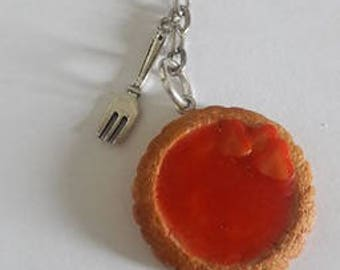 Strawberry tart keychain