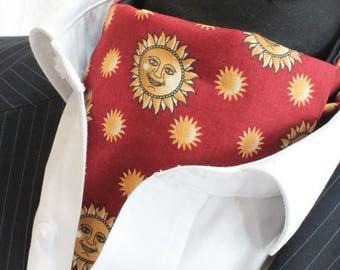 Cravat Ascot & Hankie. UK Made. Sun Rust Red Gold.