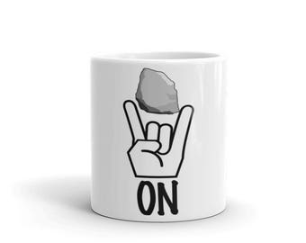 Rock On!  Spartees distressed white Mug