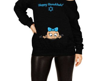 Happy Hanukkah Sweater Pregnancy Gift Ideas For Expecting Moms Chanukah Clothes Maternity Reveal Jewish Clothing Slouchy Sweatshirt TEP-424