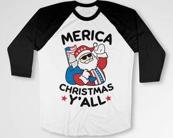 Funny Christmas T Shirt America Gifts Ideas For Men Xmas Present Holiday Party Merica TShirt 3/4 Sleeve Baseball Tee Raglan Sleeves TEP-526