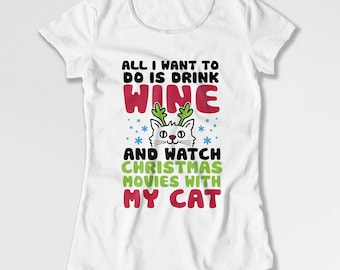 Funny Christmas Gifts For Cat Lovers T Shirt Wine Drinker Xmas Present For Her Holiday TShirt Kitty Clothing Christmas Outfit X-Mas TEP-540