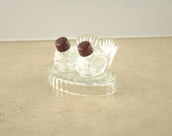 Vintage Glass Mini Salt & Pepper Shakers