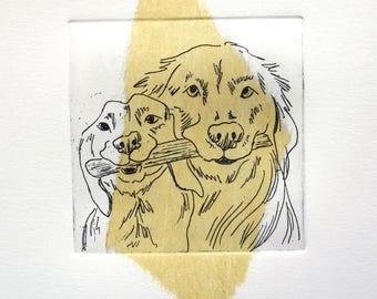 Summertime 4 Dog Art Original Limited Edition Etching