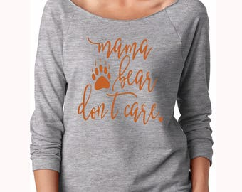 Mama Bear Slouchy - Mama Bear Off Shoulder Shirt - Mommy Off shoulder top - Mommy Off Shoulder Oversized Shirt - Women's Off shoulder Shirts