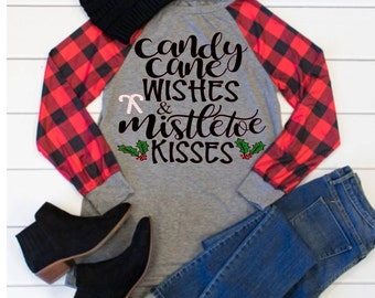 Candy Cane Wishes & Mistletoe Kisses, Mistletoe, Candy Canes, Christmas Svg,Dxf,Png,Jpeg