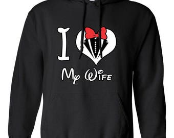 I Love My Wife Mickey Mouse Disney Couple Designed Hoodie Hooded Printed Sweatshirt with Hooded for Men and Women
