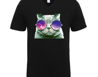 Cat with Sunglasses Adult Unisex Men Size V Neck Tee Shirts for Men and Women