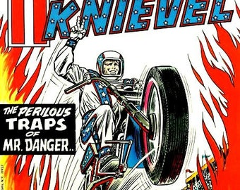 Set of 2 fridge magnets 7.5 cm x 4.5 cm Evel Knievel