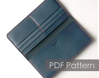 Leather long wallet pattern/minimal wallet/Pattern template/wallet pattern/leather clutch/PDF Pattern/travel wallet pattern/DIY pattern