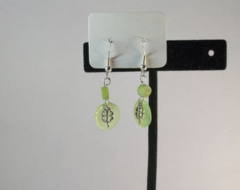 Green Jasper and mussel shell with clover charm earrings