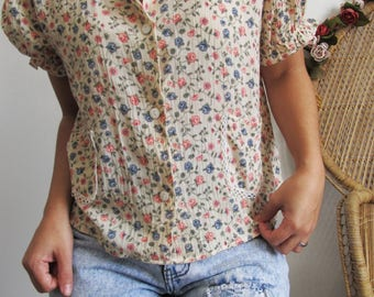 Vintage 80s Floral and Lace Detail Blouse