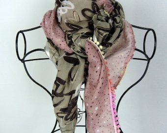 Brown square scarf collection 120, shawl, scarf, pink scarf, scarf woman, heart, Star