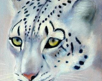 Snow Leopard Original Wildlife Oil Painting