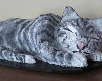 Sleeping Grey and white cat