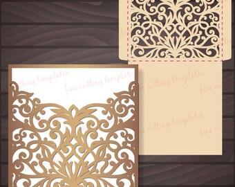 Wedding Invitation Pocket Envelope template for cutting. Digital Instant Download, Cricut, Cameo (svg, dxf, cdr, plt, eps10, studio3)
