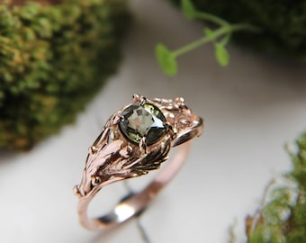 Rose gold engagement ring, green tourmaline ring, custom engagement ring, leaves ring, nature ring, gold ring, unique engagement ring