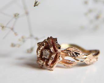 Rose flower ring, unique engagement ring, diamond ring, 14K gold ring, rose gold ring, gold flower ring, proposal ring, floral jewelry