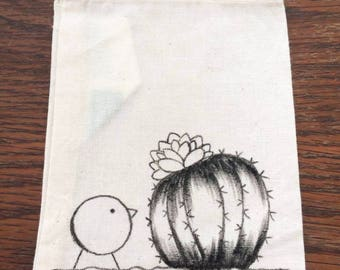 """Cactus and the bird"" pouch"