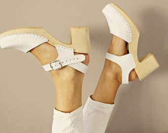 Swedish clogs wooden clogs leather sandals white shoes  women clogs leather clogs leather sandals leather mules platform boots  ankle strap