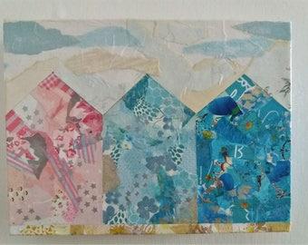 3 Beach Huts paper collage