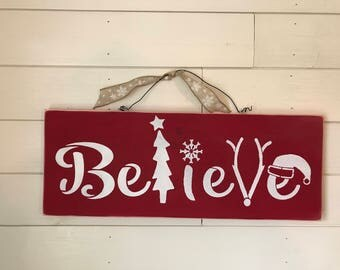Rustic Handmade Wooden Christmas Sign - Believe Home Decor