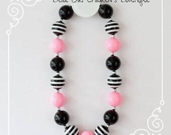 Bubblegum necklace, Chunky Bubblegum necklace, Pink and Black Bubblegum necklace, Children's necklace,