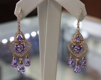 Earrings Chandalier 18 k rose gold diamonds / ammetist ladies , 10 gr , 0.93 ct.