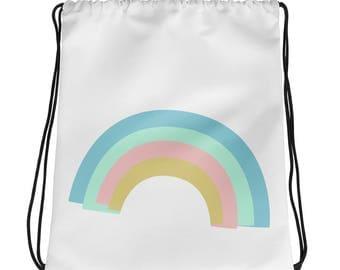 rainbow bag, draw strings, scandinavian rainbow, gym bag, fun bag, library bag, universal bag