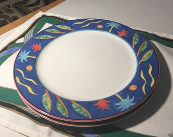 """Two Dinner Plates 10-1/2""""  1990s Barbados by Christopher Stuart"""