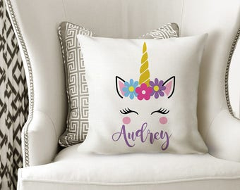 UNICORN PILLOW, Girl Name Pillow, UNICORN Nursery Decor, Unicorn Birthday Gift, Unicorn Bedroom, Girl Pillow Cover or With Insert