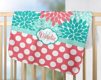 Coral Aqua Monogram Blanket Personalized Flower Coral Aqua Nursery Decor Girl Name Blanket Baby Shower Gift Swaddle Blanket Pillow Set