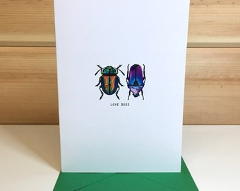 Love Bugs Handmade card ideal for Valentines, Wedding, Anniversary, Engagement, Greetings