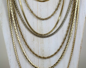 Various vintage gold chain necklaces- rope chain, snake chain