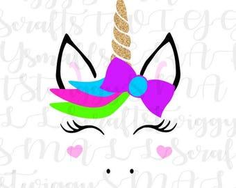 Unicorn SVG, Unicorn Face, Unicorn Flowers,Unicorn Party,Unicorn Horn,Silhouette, Svg,Cricut, Cut File,Unicorn Eyelashes, Ice cream Svg, Dxf