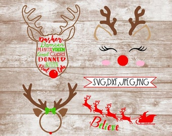 Reindeer Clipart, Reindeer SVG, Reindeer, Holiday, Christmas, SVG bundle, Cricut, Silhouette, DXF, png,Clip Art,Reindeer Face,Reindeer Names