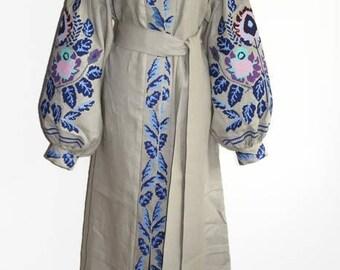 Ukrainian Abaya Dresses Boho Ukrainian Linen Bohemian style Dress Custom Boho Dress Caftan Kaftan Chic Nationale Ukraine Boho Vyshyvanka