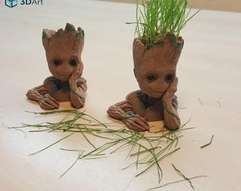 Baby Groot Planter Gift Marvel Birthday 3D Printed Guardians of The Galaxy Flower Pot Succulent Figure Chia Pet Head Toy