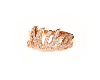 Custom NAME Diamond Ring, Personalized Name Ring, Mothers Ring, 14k Gold Name Ring With Diamonds 0.20ct - 0.30ct, Diamonds Name Ring