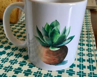 Breakfast mugs with watercolor print, cactus, succulents
