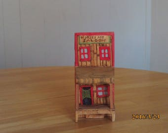 hand carved miniature saloon