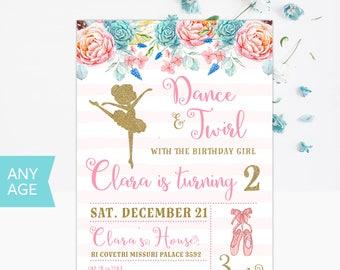 Ballerina Birthday Invitation, Princess Birthday Invitation, Ballerina Birthday Invite, Tutu Birthday Invitation, Princess Birthday Invite