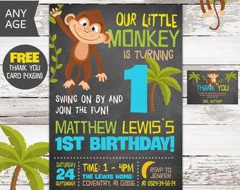 Monkey Invitation, Monkey Birthday Invite, Monkey Invitations, Boy First Birthday Invite, 1st Birthday, Boy Birthday Invitation