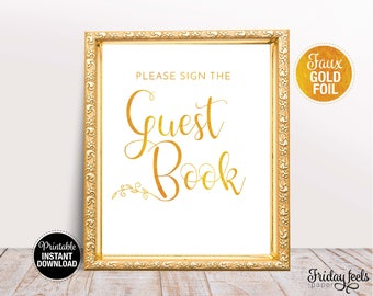 Please Sign The Guest Book Wedding Sign, Printable Wedding Poster, Gold Wedding Sign, Instant Download, WS02