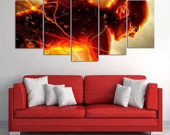 The Flash Barry Allen Canvas Wall Art - DC Comics Home Decoration - Marvel DC Comics Print - The Flash wall art - Birthday gift