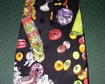 1990 NICOLE MILLER 100% SILK Tie m&m Good Plenty Life Savers Candy Design Pattern