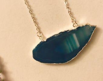 Blue Stone Necklace, Blue Stone Pendant Necklace, Boho Necklace, Silver Necklace, Blue Stone, Stone Necklace, Silver Boho, Silver Pendant