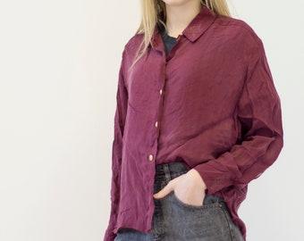 VINTAGE Purple Bordo Button Downs Retro Shirt