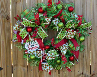 Red and Green Christmas Wreath, Handmade Christmas Wreath, Tis the Season Wreath, Apple Green and Red Deco Mesh Holiday Wreath
