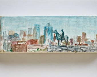Kansas City The Scout Skyline Painting Wooden Art KCMO Keepsake Gifts for Couple Painted Landscape Penn Valley Park